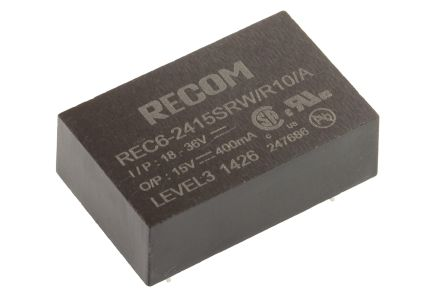 Recom REC6 6W Isolated DC-DC Converter Through Hole, Voltage in 18 → 36 V dc, Voltage out 15V dc Medical Approved