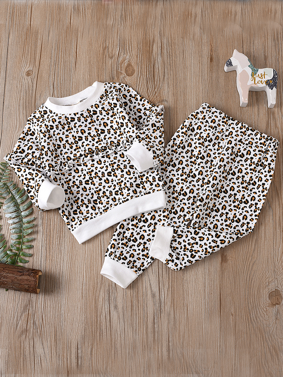 LW lovely Casual O Neck Leopard Print Girl Two-piece Pants Set