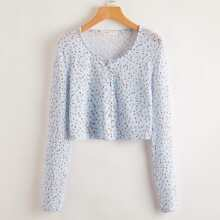 Ditsy Floral Button Front Tee