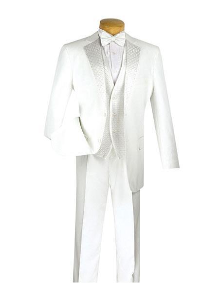 Men's Fashion White 2 Button Classic Fit 3 Piece Vested Suit