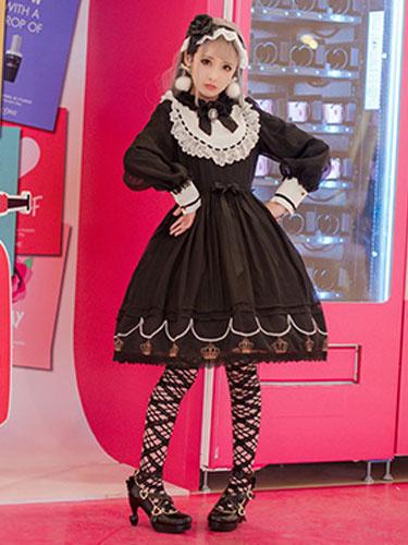 Milanoo Vestido de Lolita para ocasion informal con escote Ilusion con manga larga de dos tonos de poliester de encajeestilo dulce