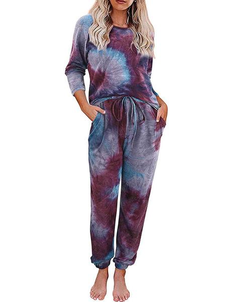 Milanoo Women\'s Loungewear 2-Piece Hunter Green Long Sleeve Cotton Fibers Tie Dye Home Wear