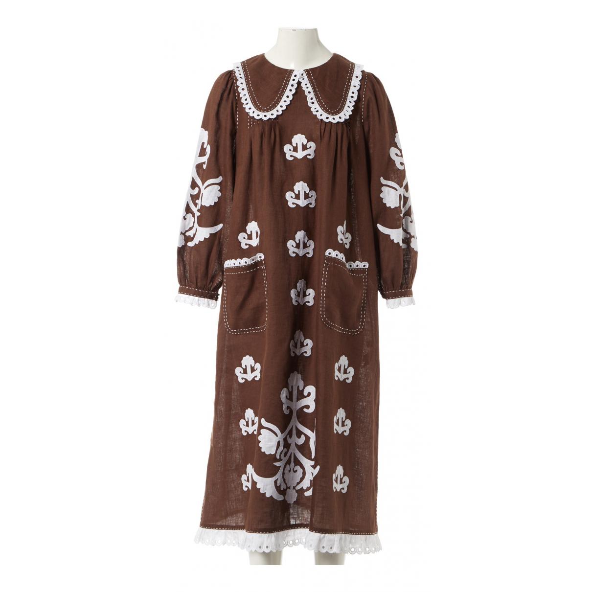 Vita Kin \N Kleid in  Braun Leinen