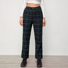 Slant Pocket Plaid Pants
