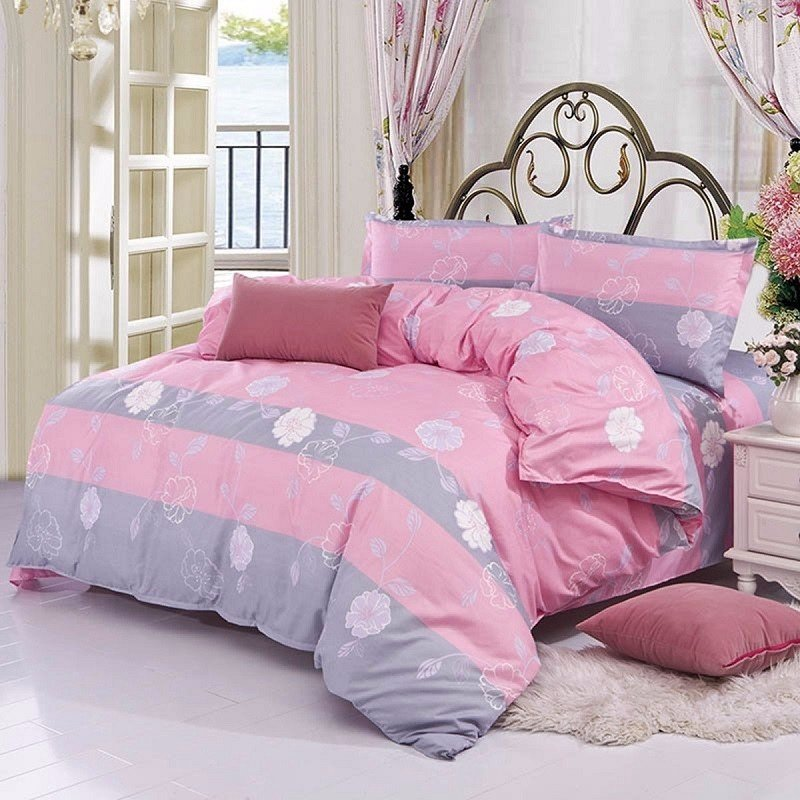 3/ 4PCS Pink Flower Reactive Printing Bed Cover Single Twin Queen Size Bedding Set