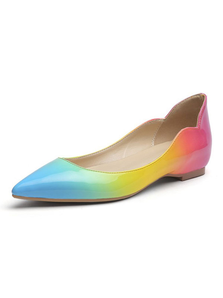 Milanoo Women Green Ballet Flats PU Leather Pointed Toe Flat Ombre Rainbow Patched Slip On Shoes