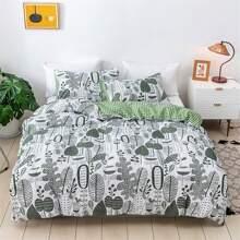 Set ropa de cama con estampado de hoja sin relleno