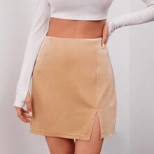 Falda recta mini de terciopelo con abertura