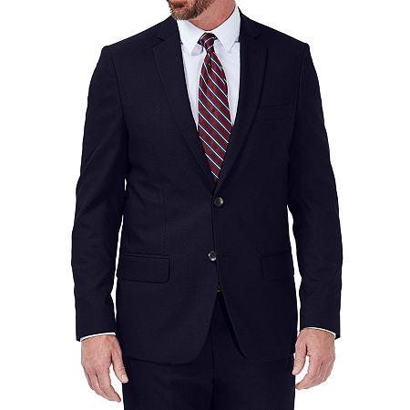 JM Haggar Stretch Dobby Slim Fit Suit Jacket, 44 Regular, Blue