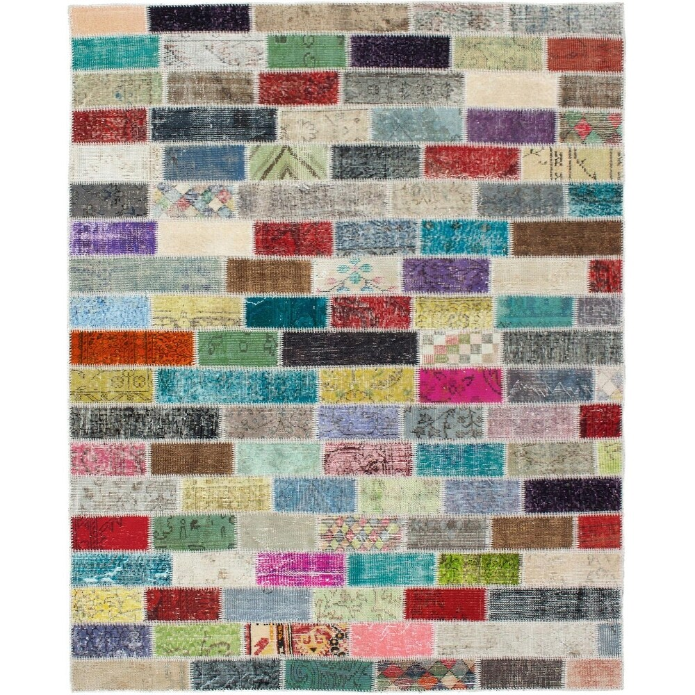 ECARPETGALLERY Hand-knotted Color Transition Patchwork Multi Wool Rug - 5'7 x 7'8 (Multi Color - 5'7 x 7'8)