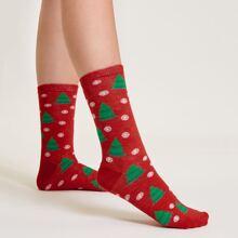Socken mit Weihnachten Schneeflocken Muster