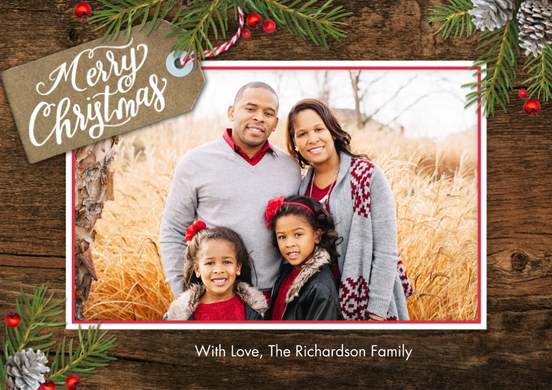 Christmas Photo Cards 5x7 Cards, Premium Cardstock 120lb with Scalloped Corners, Card & Stationery -Christmas Tag Memories by Tumbalina