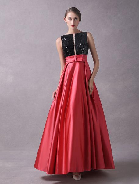 Milanoo Prom Dresses 2020 Long Satin Sequin Sleeveless V Back Bow Sash Floor Length Formal Party Dress