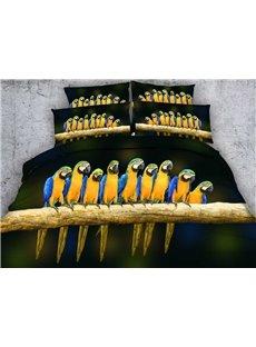 Parrots on a Branch Printed Cotton 3D 4-Piece Bedding Sets/Duvet Covers