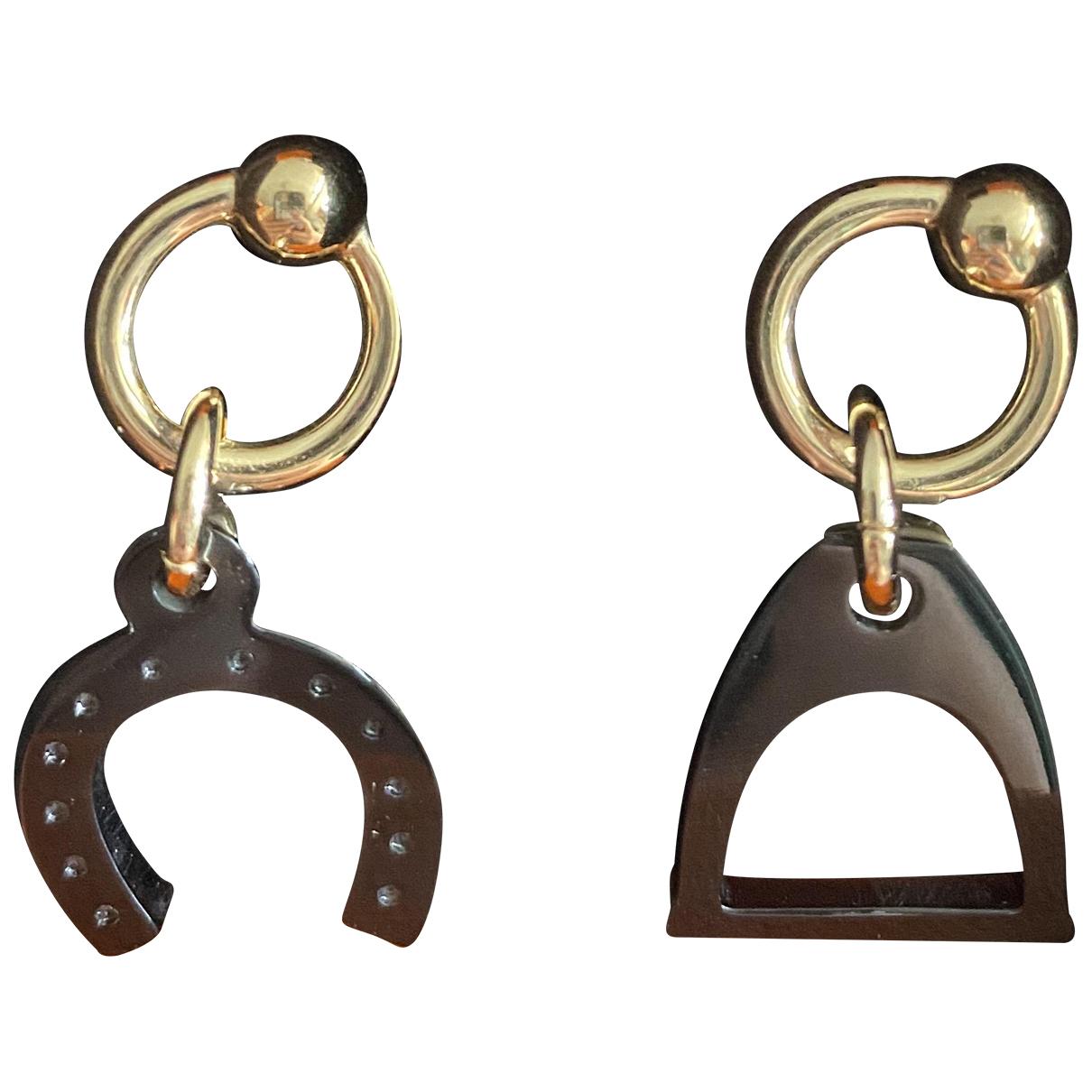 Hermes - Boucles doreilles Hava pour femme en corne - marron