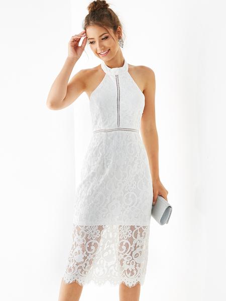 YOINS White Backless Design Halter Sleeveless Midi Dress
