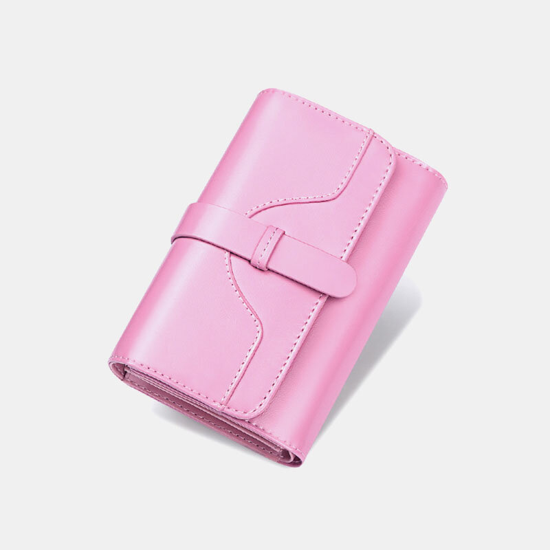 Women Genuine Leather Trifold Multi-card Slots Photo Card Money Clip Coin Purse Multifunctional Wallet