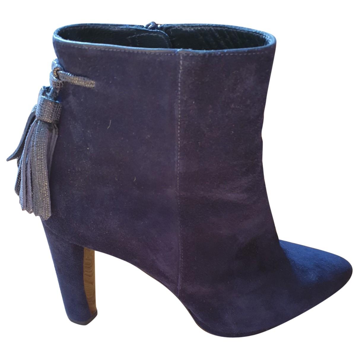 Stuart Weitzman \N Navy Suede Ankle boots for Women 38.5 EU