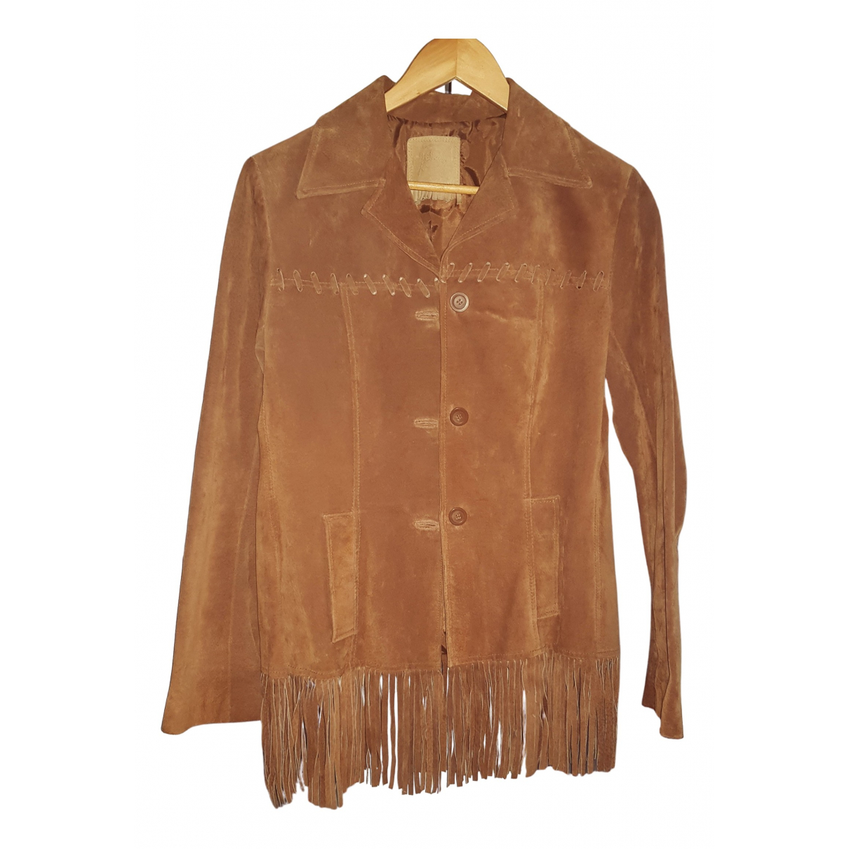 Non Signé / Unsigned N Brown Leather Leather jacket for Women 36 FR