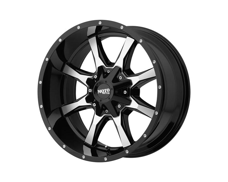Moto Metal MO97068080300US MO970 Wheel 16x8 8x165.1 0 Gloss Black Machined Face