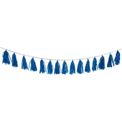Tissu de fête Tassel Garland Papier de soie Bannière Décorations 9 pi - Royal Bleu