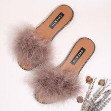 Faux Fur Decor Slide Sandals