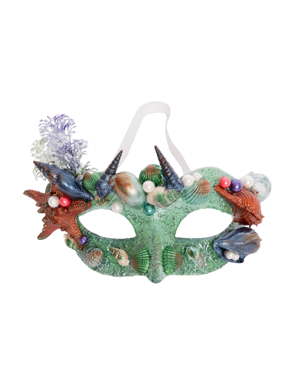Kostuemzubehor Augenmaske mit Muscheln gruen