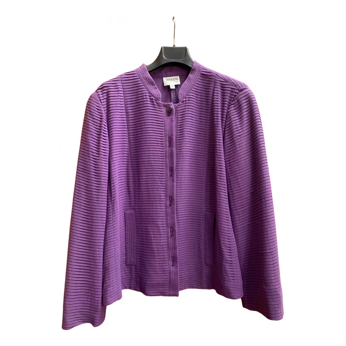 Armani Collezioni \N Purple Silk jacket for Women 50-52 IT