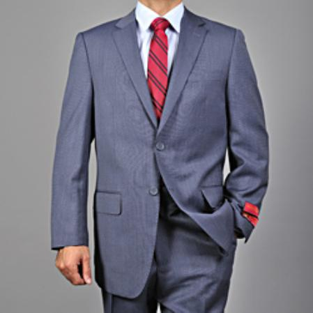 Mens Textured Blue 2button Wool Suit