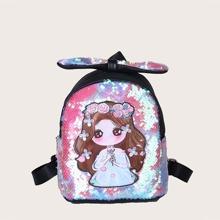 Girls Sequins Decor Backpack