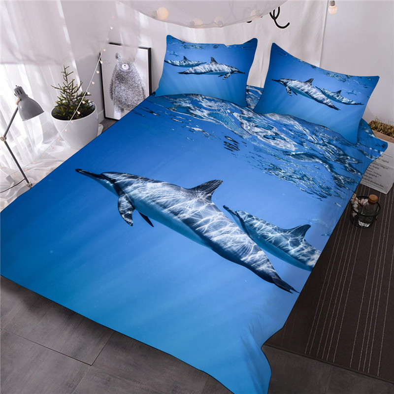 Dolphin Swimming in Sea Reactive Printing Hand Wash Three-Piece Set Skin-friendly Endurable Summer Colorfast Comforter Set Polyester Bedding Sets