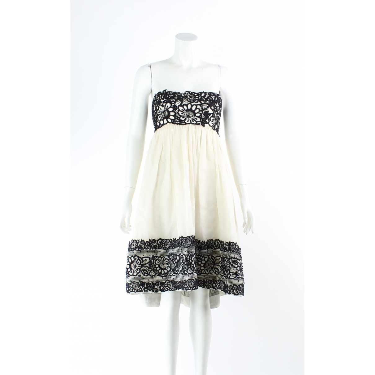 Marchesa \N Kleid in  Ecru Seide