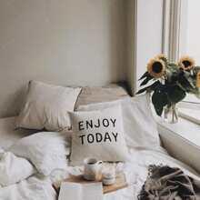 Slogan Print Cushion Cover