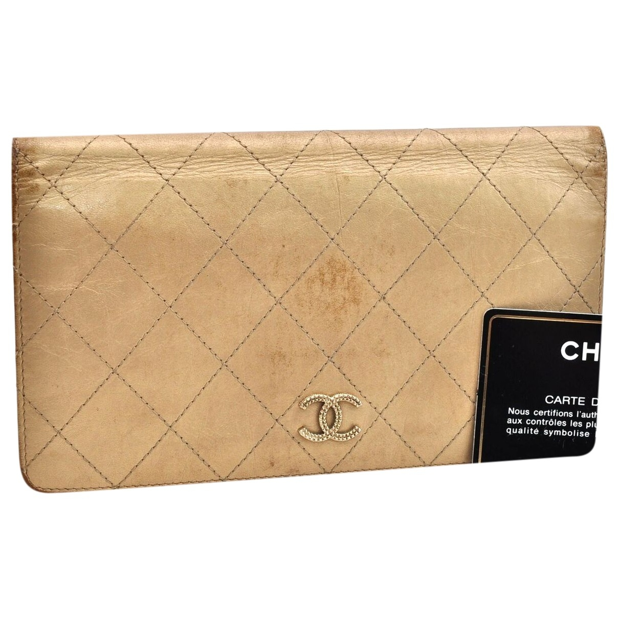 Chanel Timeless/Classique Gold Leather wallet for Women \N