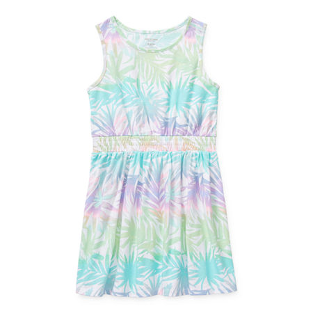 Arizona Little & Big Girls Sleeveless Striped A-Line Dress, X-large (16) , Blue