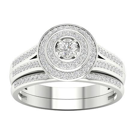 Womens 1/3 CT. T.W. Genuine White Diamond 10K White Gold Bridal Set, 8 , No Color Family