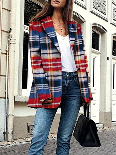 Milanoo Coat For Woman Burgundy Turndown Collar Long Sleeves Plaid Retro Pockets Winter Coat