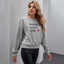 Pullover mit Buchstaben & Herzen Muster
