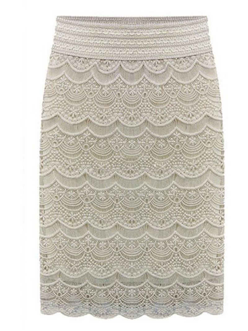 Ericdress Plus Size Bodycon Lace Plain Office Lady Skirt