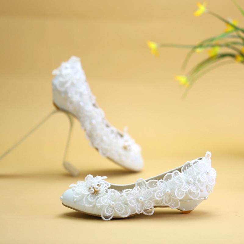 Ericdress Beads Round Toe Wedge Heel Wedding Shoes