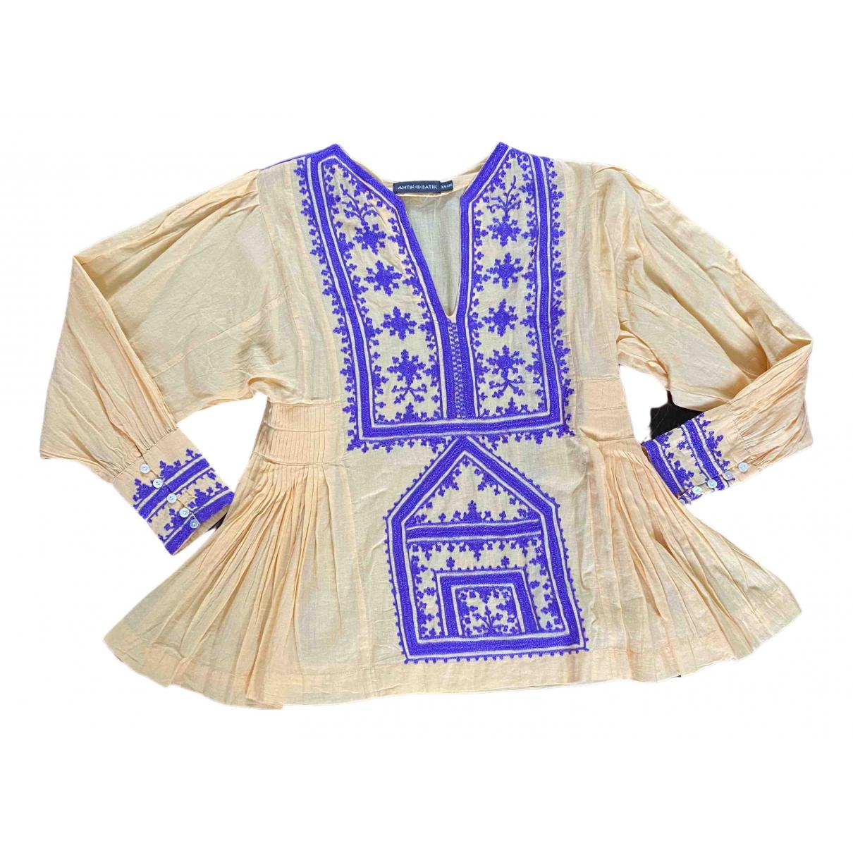 Antik Batik - Top   pour femme en coton - jaune