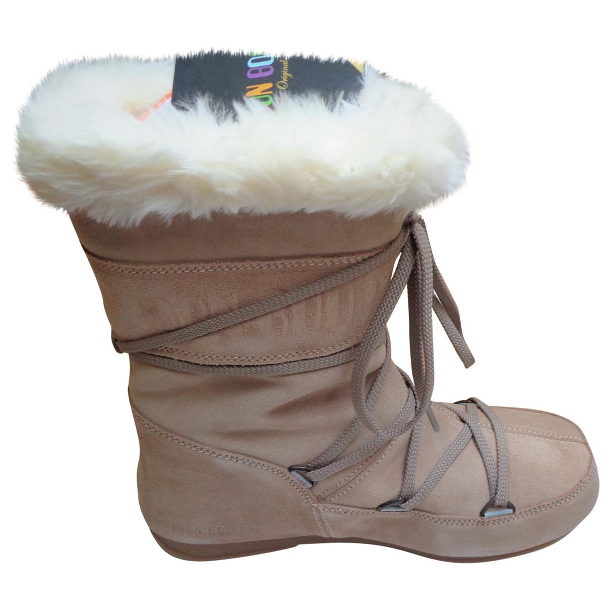 Moon Boot - Bottes   pour femme en suede - beige