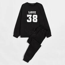 Pullover mit Buchstaben Grafik & Jogginghose Set