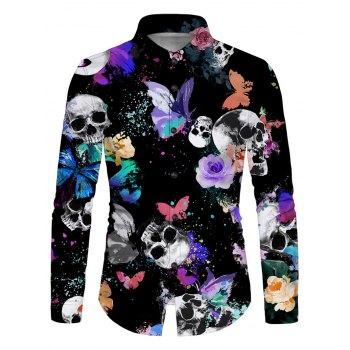 Skull Butterfly Print Button Up Long Sleeve Shirt