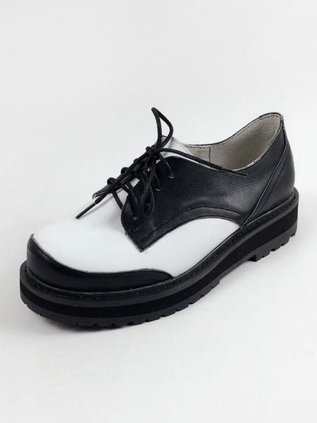 Milanoo Classic Lolita Shoes Square Toe Puppy Heel Lace Up Grommets Leather Black Lolita Shoes