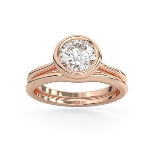2 CT Moissanite East West Round Cut Bezel Solitaire Ring in 14K Gold (4.25 - Rose)