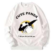 Sweatshirt mit Panda & Buchstaben Grafik