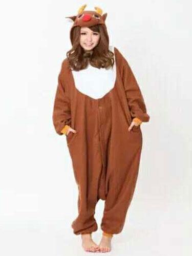Milanoo Kigurumi Pajamas Reindeer Onesie Brown Flannel Animal Winter Sleepwear Unisex For Adults Halloween