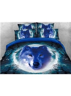 Wolf Head and Moon Night Printed 4-Piece 3D Bedding Sets/Duvet Covers