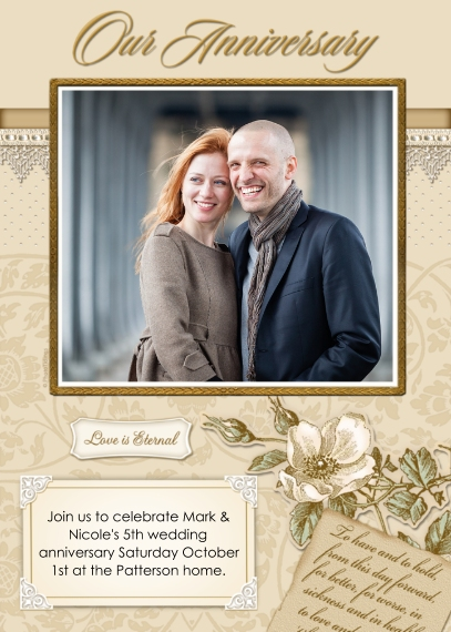 Anniversary 5x7 Folded Cards, Standard Cardstock 85lb, Card & Stationery -Our Anniversary